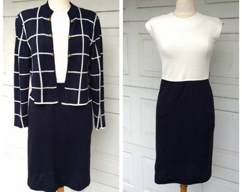 Luxury Knit Career Dress and Matching Jacket Navy Blue Windowpane Check 70s 80s Vintage Ladies Suit Leslie Fay Small 8 Petite