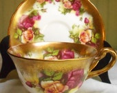 Reserved for Sue, Only, Royal Chelsea Golden Rose Tea Cup and Saucer,  English Bone China teacup, pink roses gold, pattern inside