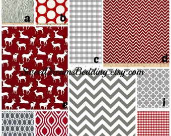 Custom Crib Bedding You Design   Bumper and Bedskirt Deer in Red