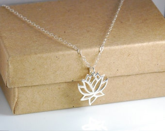 Sterling Silver Lotus Necklace, Entirely Sterling Silver Necklace, Dainty Jewelry, Peace, Yoga, Zen Jewelry