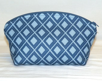 Extra Large Domed Make Up Bag in Diamond Ikat pattern in Dark and Light Blue