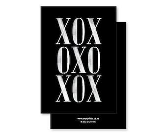 XOX (Hugs and Kisses and a bit of Love) Greeting Card - black