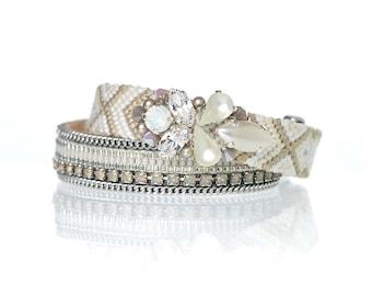 Bridal bracelets set of two - bridesmaids gift bracelets - Ibiza beach wedding - bohemian wedding - white friendship bracelets