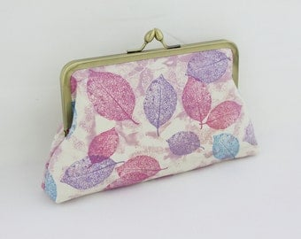 Purple Leaves Bridesmaid Clutch / Autumn Wedding Clutch / Gift for Her - the Florence Style Clutch