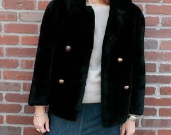 Vintage 60's Black Faux Fur Coat THE JULIE