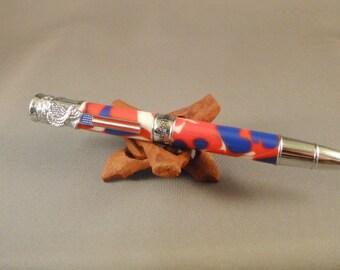 American Patriot Pen - Red-White-Blue Swirl Acrylic