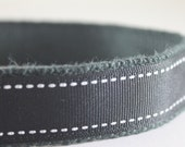 Hemp dog collar - Black and White Saddle Stitch
