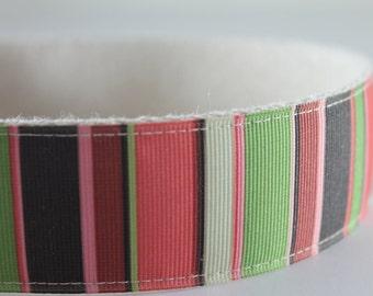 Modern Stripes extra large hemp dog collar