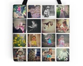 Custom Photo Tote Bag - Instagram Picture Collage Tote Bag, Photo Print Collage Tote, Photo Bag, Personalized Christmas Gift, Custom Photo
