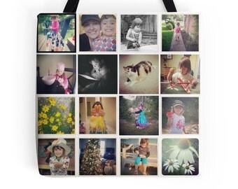 Custom Photo Tote Bag - Instagram Picture Collage Tote Bag, Photo Print Collage Tote, Photo Bag, Personalized Christmas Gift, Custom Photo
