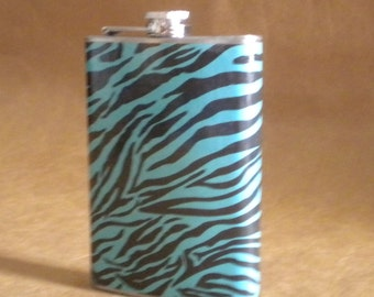 Sale Flask Reduced Teal and Black Zebra Print Girl Gift Stainless Steel Flask KR2D 6543