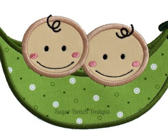 2 Peas in a Pod-  Machine Applique Embroidery Design (096)
