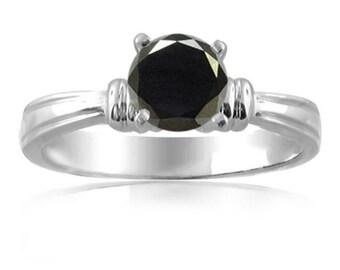 black diamond  engagement ring  18k gold