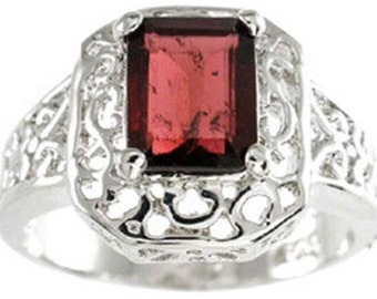 sterling silver genuine garnet ring