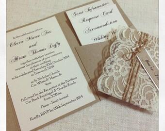 Rustic Wedding Invitation sample rustic elegant lace wedding invitation