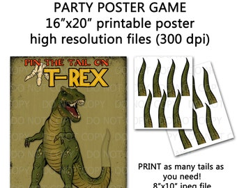 "Printable DIY Pin the Tail on Trex Dinosaur Party Game Poster 16"" x 20"""