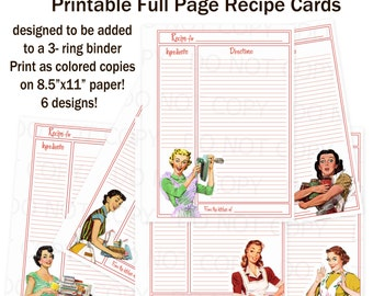 Printable 1950's Retro Housewife Full Sheet Recipe Cards for 3-ring Binder - Set of 6 designs