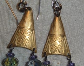 Vintage etched brass with crystals and tiny purple bead earrings with sterling hooks
