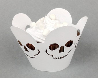 12 halloween skull cupcake wrappers (pearlescent white paper)