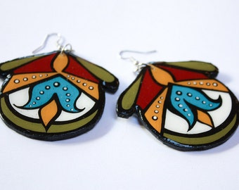 Large Handpainted Modern Turkish Floral Inspired Earrings In Turquoise, Mustard and Red