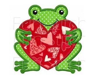 Valentine love frog applique machine embroidery design