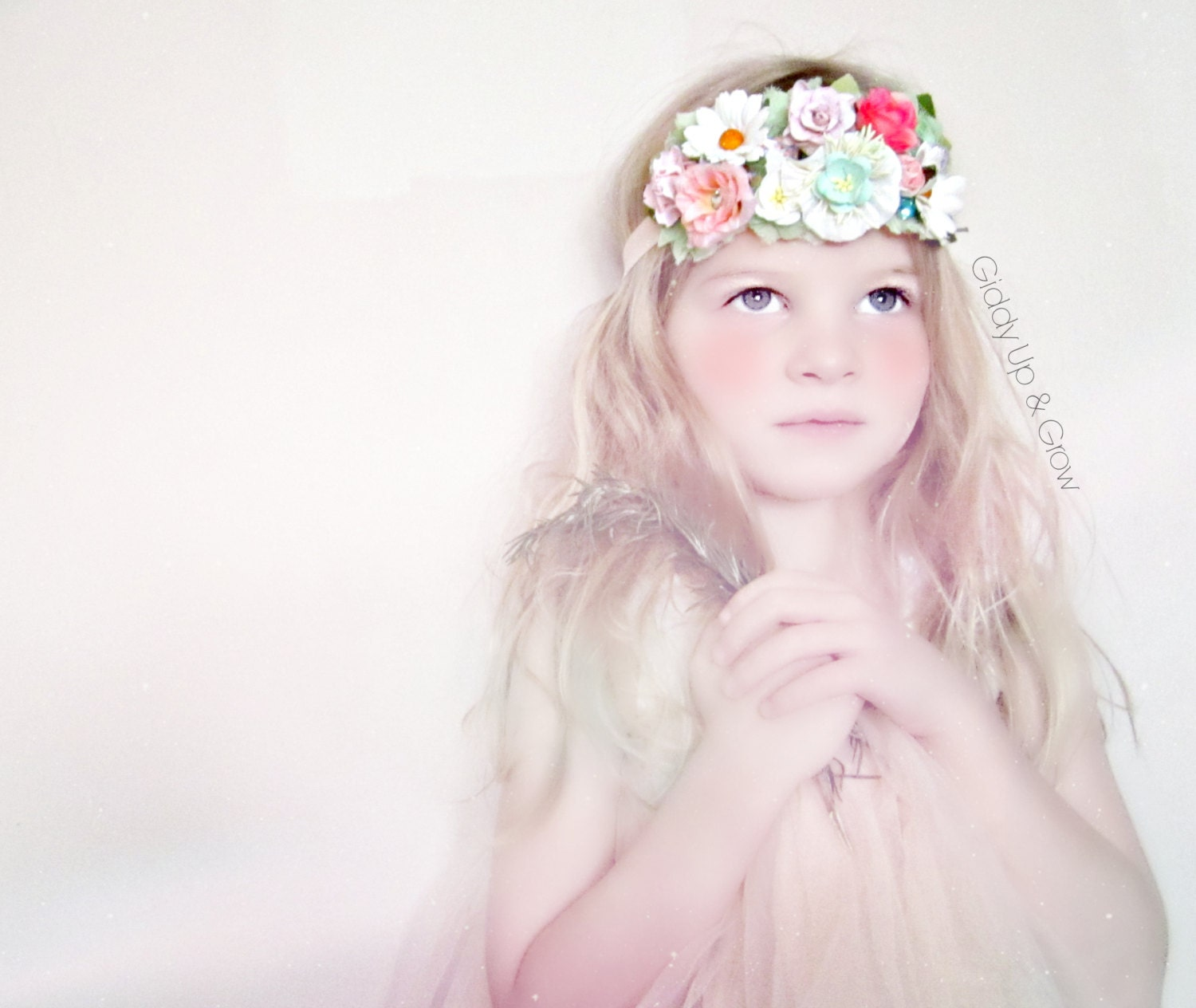 Floral Crown Headband Bohemian Vintage Flower by giddyupandgrow