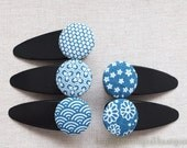 Hair Accessories Fabric Button Large Hair Clips Barrettes-Japanese Kimono Blue Floral Ocean Wave Traditional Pattern(1PCS, Choose Pattern)