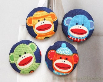 Fabric Covered Buttons Flat Back Magnet (L) - Colorful Winter Hat Funky Sock Monkey On Dark Blue (4Pcs, 1.25 Inch)