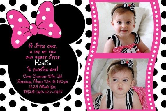 Minnie Mouse Rosa Polka dot invitación por HeathersCreations11