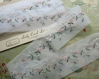 """1 yard vintage 1960s sheer nylon embroidered lace piece pink flowers tulle floral 3"""" wide"""