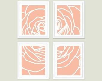 Modern Rose Art Prints - Set of Four - Peach Rose Wall Art - Deconstructed Flower - Spring Summer Decor