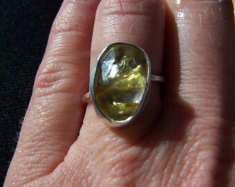Rose cut golden rutilated quartz ring: made to order