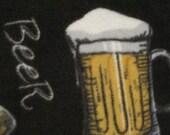 Handmade Fleece Blanket - Beer Mugs on Black with Black - Ready to Ship Now