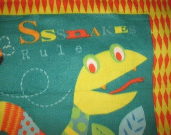 Happy Snake with Blue Couch Throw - Ready to Ship Now