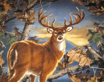 Deer with Blue Fleece Blanket - Ready to Ship Now