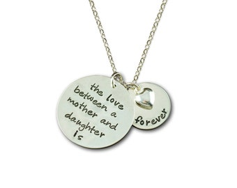 Love Between Mother & Daughter is Forever Personalized Silver Necklace - 2 Name Tags - Hand Stamped Mother Daughter Necklace