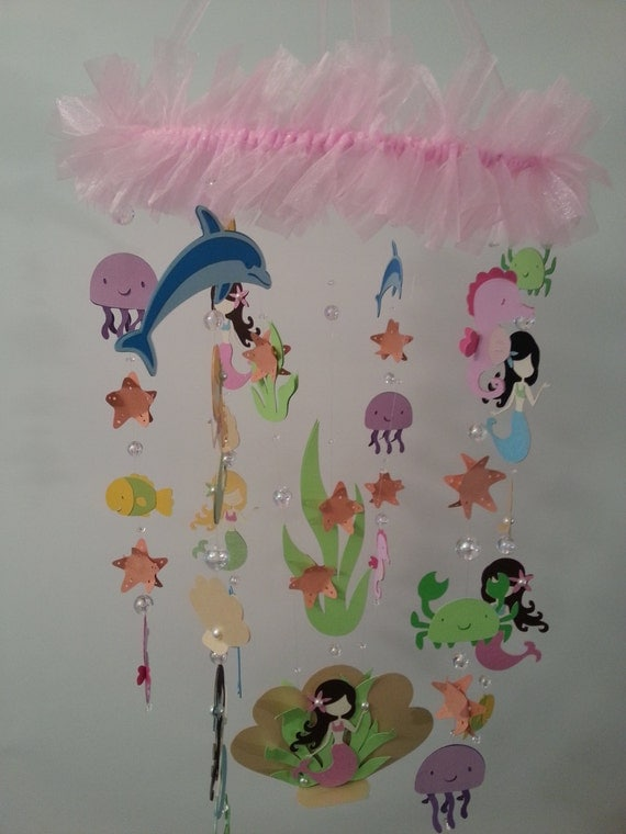 Mermaid mobile baby mobile pink bright mermaid sea creature for Sea animal baby mobile