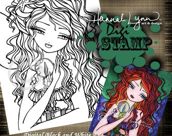 PRINTABLE Mermaid Book Candle Digi Stamp Coloring Page Fantasy Art Hannah Lynn