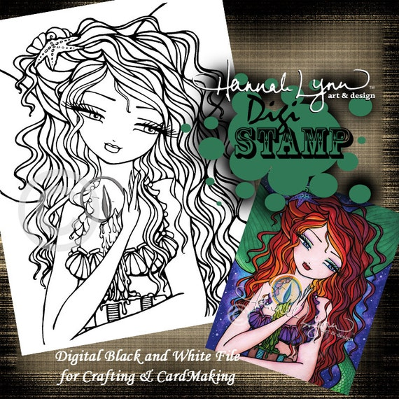 PRINTABLE Mermaid Book Candle Digi Stamp Coloring Page Fantasy
