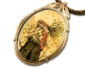 Autumn Fairy Bronze Art Pendant