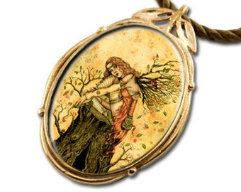 Autumn Fairy Bronze Art Pendant