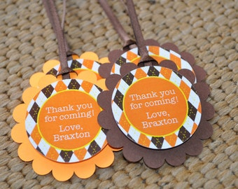 Argyle Birthday Favor Tags, Thank You Tags, Party Favors, Boys Birthday Decorations, Halloween Autumn Birthday Party Decorations - Set of 12