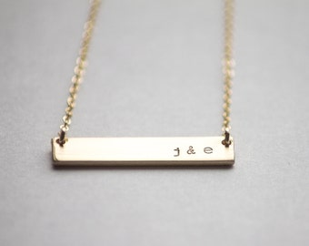 Double Sided Gold Bar Necklace - 14k Gold Fill - Reversible Hand Stamped Jewelry - Layering Necklace by Betsy Farmer Designs