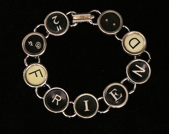 Typewriter Key Bracelet - says 2@FRIEND: