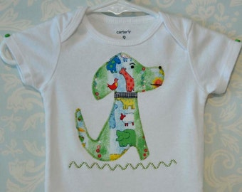 Adorable Retro Dog Onesie in gender neutral fabric with embellishments