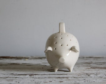 vintage ivory white decorative pig