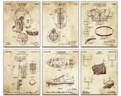Football Blueprint Patent Six Panel Canvas Giclee  - 36x30