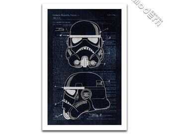 Storm Trooper Helmet Patent Art - Star Wars Patent Design Giclee on archival matte paper