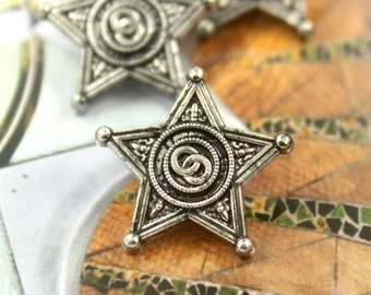 Metal Buttons - Badge Star Metal Shank Buttons , Retro Silver Color , 0.75 inch , 10 pcs
