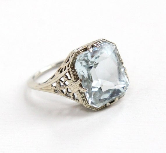 antique 14k white gold aquamarine ring deco 1920s size 5
